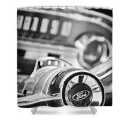 1963 Ford Falcon Futura Convertible Steering Wheel Emblem Shower Curtain