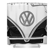 1966 Volkswagen Vw 21 Window Microbus Emblem Shower Curtain