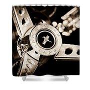1969 Ford Mustang Mach 1 Steering Wheel Shower Curtain by Jill Reger