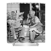 1970s Elderly Couple In Rocking Chairs Shower Curtain