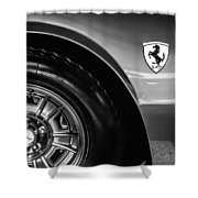 1971 Ferrari Dino Gt Wheel Emblem -027c Shower Curtain