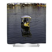 2 Kashmiri Men Heading Towards The Camera In A Small Wooden Boat Shower Curtain
