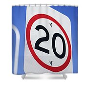 20km Road Sign Shower Curtain