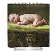 A Baby Asleep On A Pillar Shower Curtain