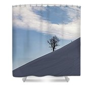 A Backcountry Skier Skins Up A Ridge Shower Curtain