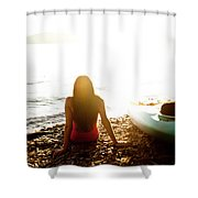A Beautiful Young Woman Relaxes Shower Curtain