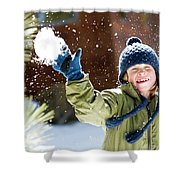 A Boy Throws A Snowball While Playing Shower Curtain