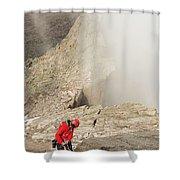 A Climber Descending Longs Peak Shower Curtain