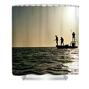A Couple Fish As A Man Pilots A Small Shower Curtain