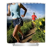 A Couple Trail Running Shower Curtain