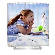 A Cute Little Hispanic Girl In A Summer Shower Curtain