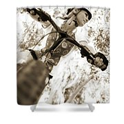 A Female Mountain Biker Shower Curtain