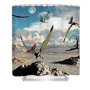 A Flock Of Thalassodromeus Pterosaurs Shower Curtain
