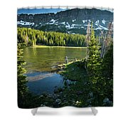 A Fly Fisherman Fishes A High Alpine Shower Curtain
