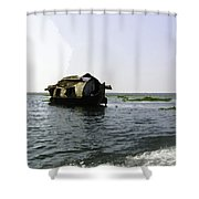 A Houseboat Moving Placidly Through A Coastal Lagoon In Alleppey Shower Curtain