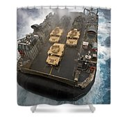 A Landing Craft Air Cushion Exits Shower Curtain