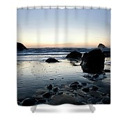A Landscape Of Rocks On The Coast Shower Curtain