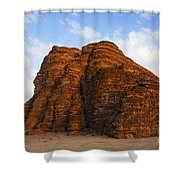 A Landscape Of Rocky Outcrops In The Desert Of Wadi Rum In Jordan Shower Curtain