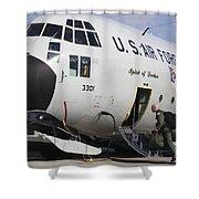 A Lc-130h Hercules Of The New York Air Shower Curtain by Timm Ziegenthaler