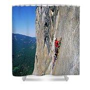A Man Aid Climbing Shower Curtain