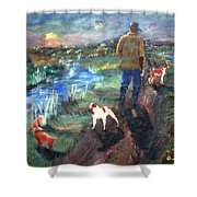 A Man And His Dogs Shower Curtain