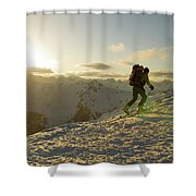 A Man Backcountry Skiing At Sunset Shower Curtain