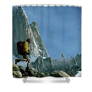 A Man Backpacks In Front Of Fitz Roy Shower Curtain