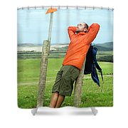 A Man Enjoying A Moment Of Rest Shower Curtain