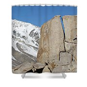 A Man Sport Climbs In Bishop Shower Curtain