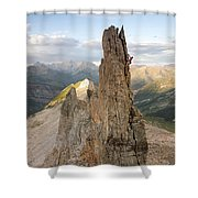 A Man Tops Out A Spire On Treasure Shower Curtain