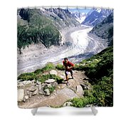 A Man Trail Runs In Chamonix, France Shower Curtain