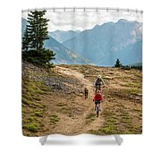 A Mother And Daughter Mountain Biking Shower Curtain