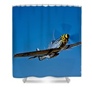 A P-51d Mustang Kimberly Kaye In Flight Shower Curtain