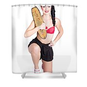 A Pin Up Girl Holding A Little Wooden Skateboard Shower Curtain