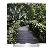 A Raised Walking Path Inside The National Orchid Garden In Singapore Shower Curtain