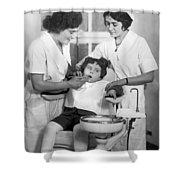 A Reluctant Patient Shower Curtain