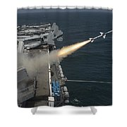 A Rim-7 Sea Sparrow Missile Is Launched Shower Curtain