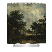 A Road Winding Past Cottages Shower Curtain