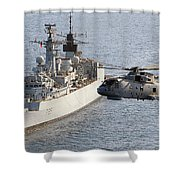 A Royal Navy Merlin Helicopter Passes Over Hms Cumberland Shower Curtain