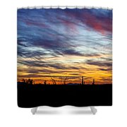 A Silhouette Sunset  Shower Curtain