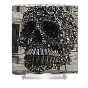 A Skull Sculpture Made Of Cans And Metal Along The Grand Canal Shower Curtain