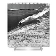 A Snowmobiler Jumping Off A Cornice Shower Curtain