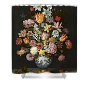 A Still Life Of Flowers In A Wan Li Vase Shower Curtain