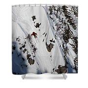 A Telemark Skier In A Narrow Chute Shower Curtain