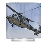 A U.s. Navy Mh-60s Seahawk In Flight Shower Curtain