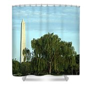 A Weeping Willow Washington Monument Shower Curtain