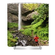 A Woman Admires Latourel Falls On June Shower Curtain