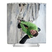 A Woman Climbs The Line 5.9 At Lovers Shower Curtain