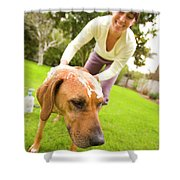 A Woman Gives Her Rhodesian Ridgeback Shower Curtain
