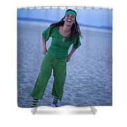 A Woman Having Fun On The Cracked Earth Shower Curtain